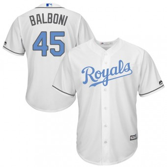 Youth Replica Kansas City Royals Steve Balboni Majestic Cool Base Father's Day Jersey - White